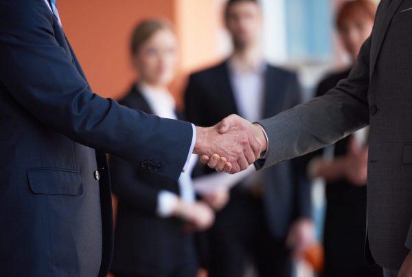 Logistics conference, shaking hands
