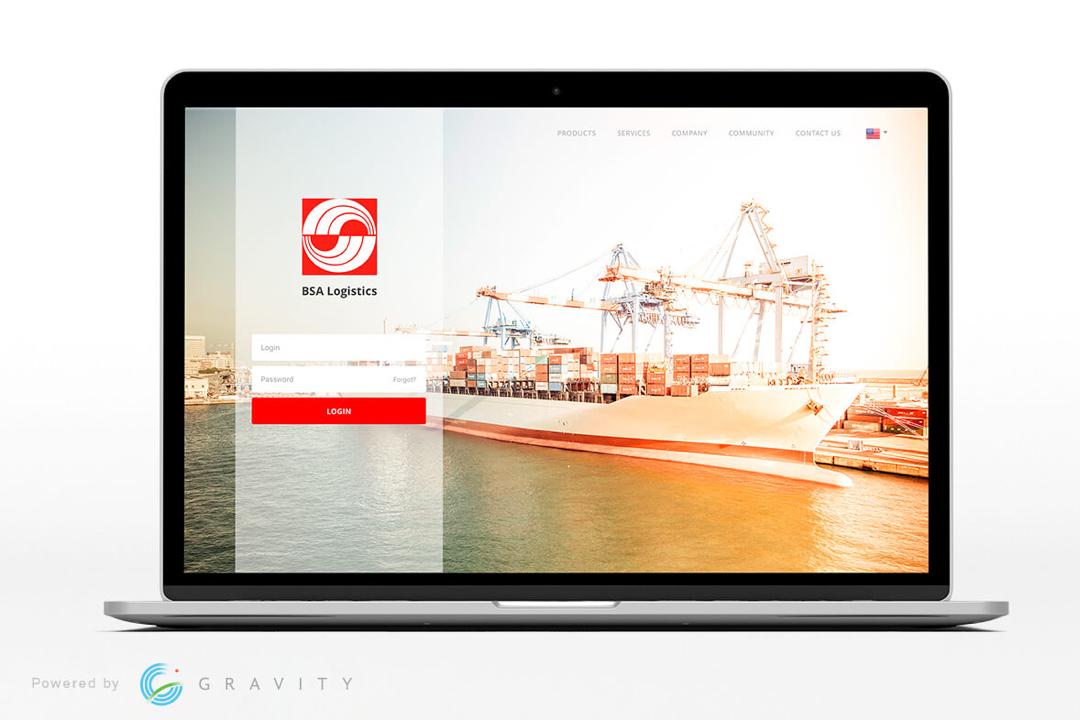 Gravity Supply Chain's Product's white-labelled (BSA Logitstics) login portal